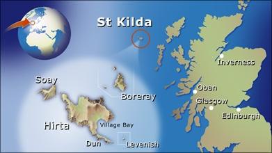 St Kilda uhartedi eta Hirta uharteko kokapen geografikoa (Irudia: The National Trust for Scotland)
