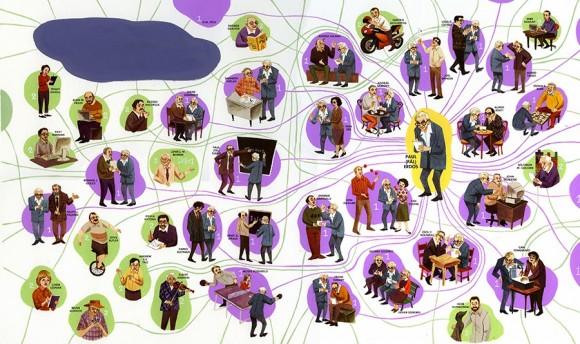 Erdös zenbakiaren ilustrazioa. Agertzen diren pertsonaiak benetako matematikariak dira, eta 1 edo 2 da haien Erdös zenbakia. © LeUyen Pham