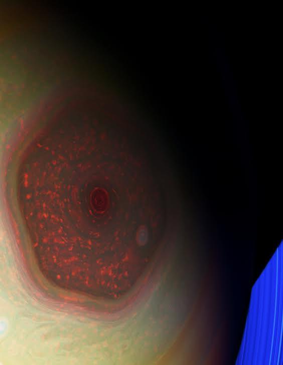 Geophysical Research Letters aldizkariaren portada. Saturnoko hexagonoa agertzen da Cassini ontzian dagoen ISS tresnak 2013ko otsailaren 26an hartutako irudietan. Kreditua: UPV/EHUko Zientzia Planetarioen Taldea-NASA/ESAren Cassini.