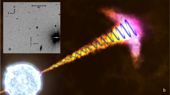 Goialdeko ezkerreko laukia (a): Very Large Telescopek (VLT) Txiletik GRB121024Aren eremuaz hartutako irudia. GRB121024A lerro etenen bidez adierazitako puntua da. GRB121024Ak irudian duen distira ez dator bat Lurreraino duen distantziarekin. Izan ere, ikus daitekeenez, GRB121024A eremuko objektu distiratsuenetako bat da, nahiz eta irudian urrunen dauden objektuetako bat izan (urrunen dagoena ere izan liteke). Horrela, adierazitako puntua izar batek orain dela 11.000 milioi urte inguru izan zuen eztandari dagokio, artean Unibertsoaren adina gaur egungo adinaren heren bat zela. Lauki orokorra (b): GRB121024Aren erreprodukzio artistikoa. Hilzorian dagoen izarretik irteten diren zurrustak ikus daitezke, izar horren erdian zulo beltz bat osatuko litzatekeela. Zurrustatik hedatzen den uhin urdinak antzemandako polarizazio zirkularra ordezkatzen du. Kreditua: NASA, Goddard Space Flight Center/S. Wiessinger.