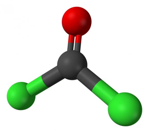 5. Irudia. Fosgenoaren egitura kimikoa: COCl2