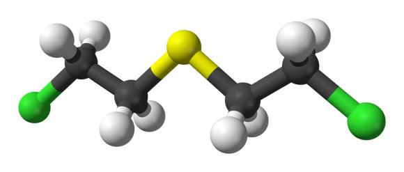 6. Irudia: Ziape-gas edo iperita substantziaren egitura kimikoa: (ClCH2CH2)2S