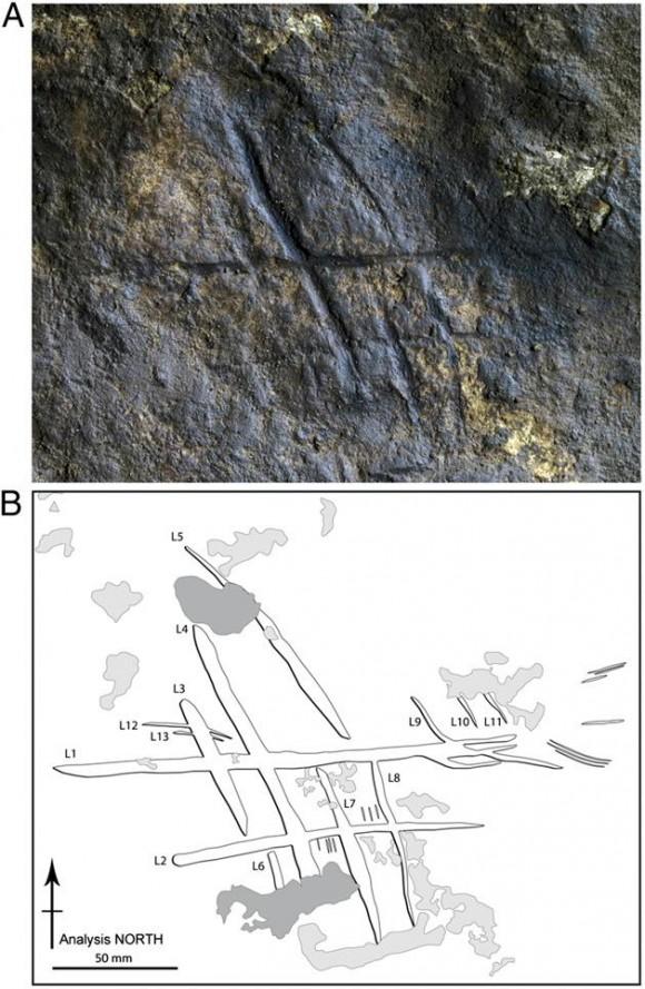 2. irudia: Gibraltarko Gorhameko kobazuloan aurkitutako marken ezaugarrien deskripzioa.