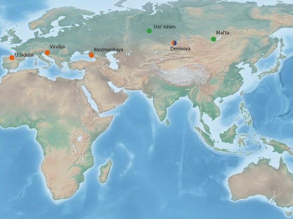 2. Irudia: DNA nuklearra duten Pleistozenoko fosilak irudikatzen dituen mapa. (Argazkia: © MPI for Evolutionary Anthropology / Bence Viola)