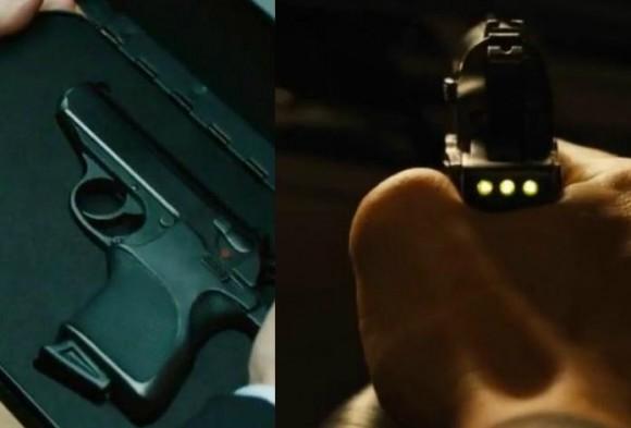 2. irudia: 007 agentearentzako Q asmatzaileak egindako pistolak honen erabilera gaitzen zen, soilik hatz-identifikazioaren bidez.
