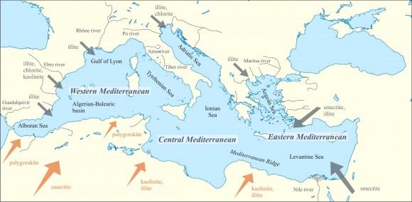 2. irudia: Mapa esquemático del Mediterráneo mostrando sus distintas cuencas y los principales aportes fluviales y eólicos. (Argazkia: F. Martínez Ruiz)