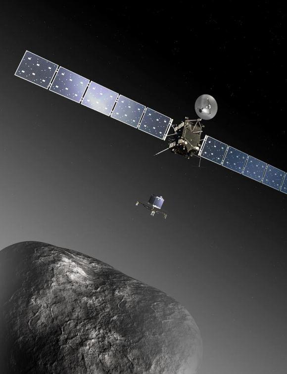 1. irudia: Rosetta eta Philae kometaren alboan (irudi artistikoa). (Argazkia: ESA–C. Carreau/ATG medialab)