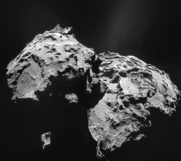 2. irudia: Kometaren argazkia (2015-01-12). (Argazkia: ESA/Rosetta/NAVCAM – CC BY-SA IGO 3.0.)