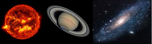 3. irudia: Irudia: Ezkerretik hasita, Eguzkia (izarra), Saturno (planeta) eta Andromeda (galaxia).