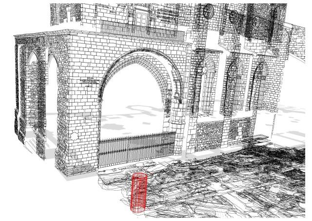 1. irudia: Katedraleko indusketak eta harri guztiak fotogrametriaren bidez erregistratuak izan dira, 3Dko eredua sortuz. Irudian putzuari dagokion irudikapen geometrikoa ikus dezakegu.