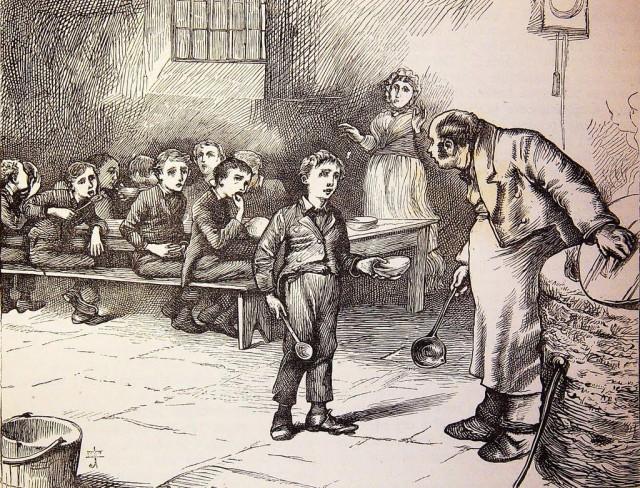 1. irudia: Charles Dickensek bikain irudikatzen zuen haur pobrezia bere liburuetan. Irudian, Oliver Twist eleberriko ilustrazio bat. (Argazkia: Biblioteca General Antonio Machado / CC BY 2.0)