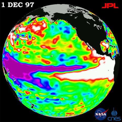 Irudia: El Niño, 1997ko satelite bidezko irudia. Epeldutako urazal zatia islatzen du zuriguneak. (Argazkia: NASA)