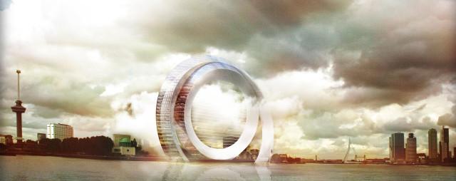 Irudia: Honelako itxura izango luke The Dutch Windwheel eraikinak, Rotterdamgo uretan.