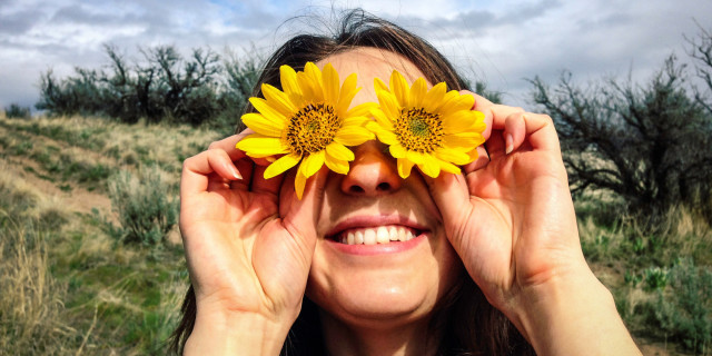 Caucasian woman holding flowers over her eyes 20-24 years, arms raised, brunette, caucasian, close up, color image, covering, day, energy, enthusiasm, eye, flower, front view, happy, head and shoulders, holding, horizontal, mule deer sunflower, nature, obscured face, one person, outdoors, people, photography, playful, playing, portrait, posing, silly, smiling, sunflower, sunny, vitality, woman, young adult, young women, 20-25, 20-30, 20's, 20s, 25-30, absurd, adult, arm, blooming, blossom, blossoming, brown hair, cheerful, close-up, closeup, color, colour, daylight, daytime, eagerness, enclosing, enjoyment, eyeball, female, flora, floral, foolish, gaiety, gal, glad, gleeful, goofy, gusto, head & shoulders, human, human being, jolly, lady, lighthearted, lively, merry, mischievious, mischievous, natural, one, outdoor, outside, person, plant, portraiture, power, raised, raising, ridiculous, satisfaction, smile, spirited, sunlight, sunshine, twenties, twenty, vegetation, wacky, western european, whimsical, women, zeal, zest