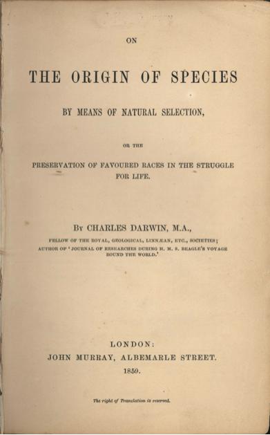 """1. irudia: Darwinen """"Espezieen jatorriaz"""", eboluzioaren mugarririk garrantzitsuena. (Argazkia: Wikimediaren bidez)"""