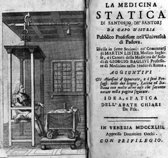 """Irudia: Galileoren asmakizunak aplikatu zituen medikuntza jardueretan, esate baterako termometroa eta pultsazioen erlojua. 1614an Statica De Medicina (Medikuntzako neurketei buruz"""") liburua argitaratu zuen."""