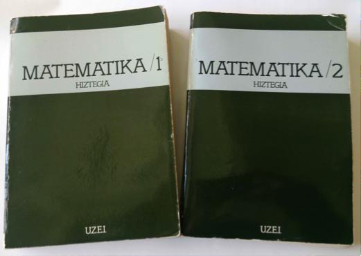 5. irudia: Matematika hiztegia (UZEI, 1982). Lehen tomoak terminoen definizioa eta 74 artikulu luze dakartza. Bigarrenak euskara-espainiera-frantsesa-ingelesa hiztegia.