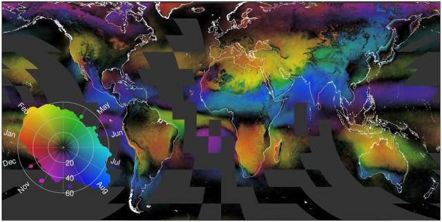 1. irudia: Hodeien mapa. Koloreak adierazten du hilabete lainotsuena zein den toki bakoitzean. Argazkia: Adam Wilson)