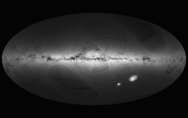 1. irudia: Irudia: GAIAk lortutako zeruaren lehen mapa. Copyright: ESA/Gaia/DPAC, A. Moitinho & M. Barros (CENTRA-University of Lisbon).