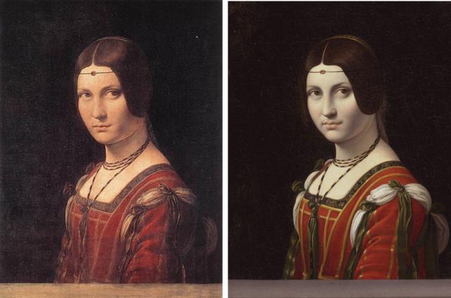"""2. irudia: """"La Belle Ferronnière"""", ustez Lenardo da Vincik egina (1495-99, 63 x 45 cm), eta Hahn senar-emazteena (1750 baino lehen, 55 x 44 cm). Iturria: Brewer, John (2005) Art and Science: A Da Vinci Detective Story."""