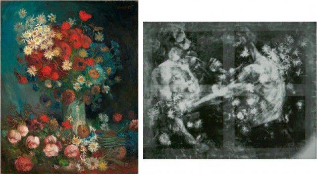 3. irudia: (Lore-natura hila; mitxoletak eta arrosak). Vincent van Gogh (1886-1887, 99 x 79 cm). Margolanaren erradiografia, 90º-ko bira emanda. Iturria: van der Loeff (2012).