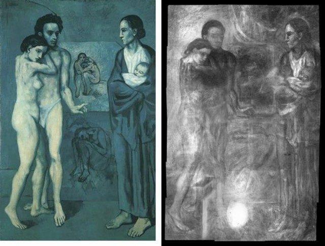 """4. irudia: """"La vie"""". Pablo Picasso (1903, 196 x 129 cm). Margolanaren erradiografia. Iturria: The Cleveland Museum of art."""