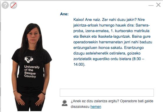 2. irudia: Ane, UPV/EHUko laguntzaile birtuala.