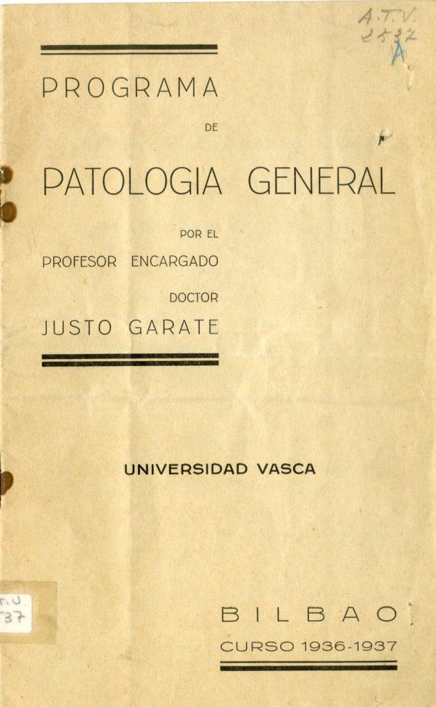 4. irudia: Justo Garate irakasleak Patologia Orokorra irakasgaia landu zuen. (Argazkia: Sabino Arana Fundazioa. )